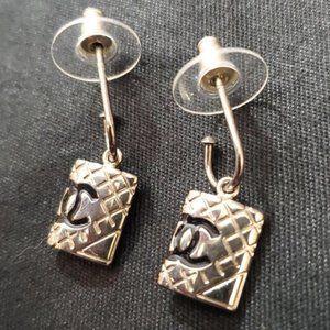 CHANEL Jewelry - Chanel Silver & Black CC Drop Earrings